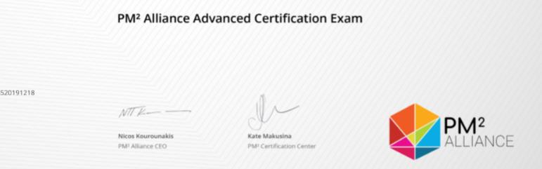Certificat PM2 Alliance Vincent Arnoux