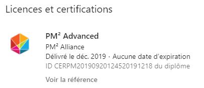 Licences et certification PM² Linkedin