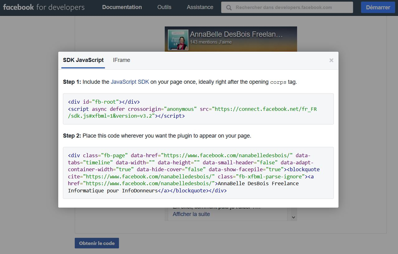 Code SDK JavaScript Plugin Page Facebook