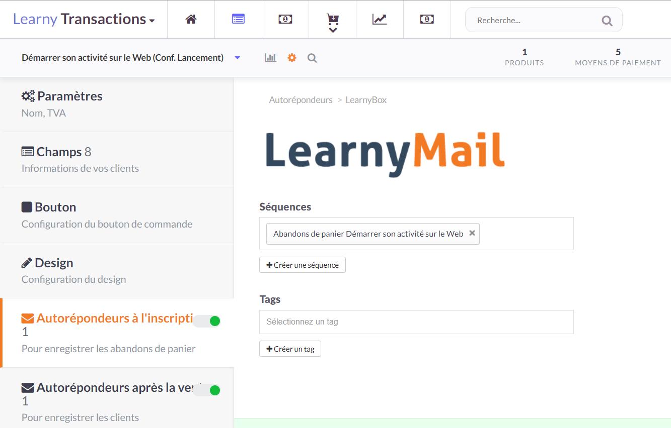 Transactions : Autorépondeur LearnyMail (1)
