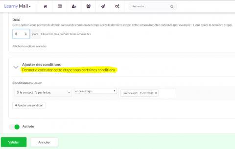 Conditions sur une étape LearnyMail