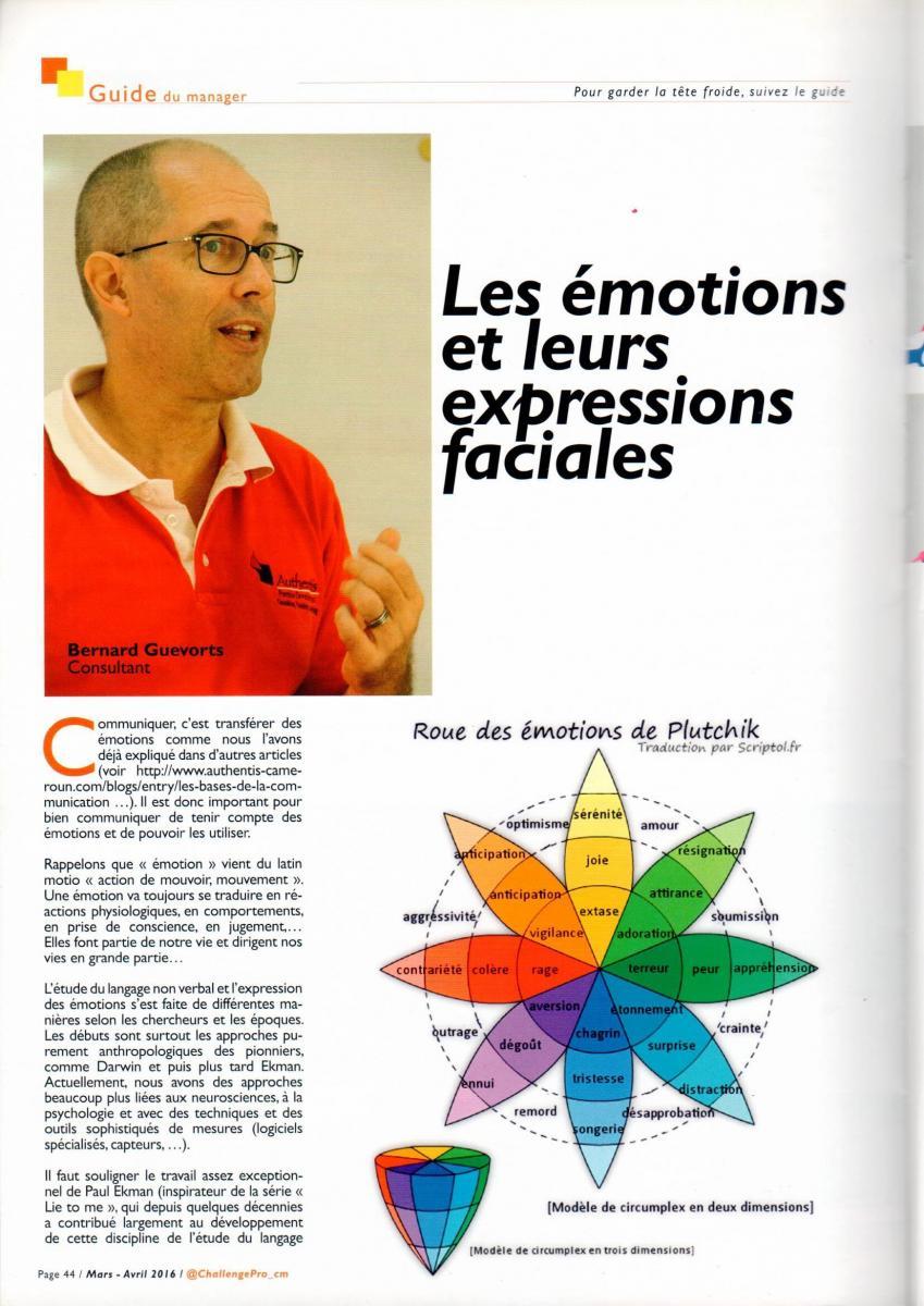 Article paru dans Challenge Pro 12 - Les émotions et leurs expressions faciales