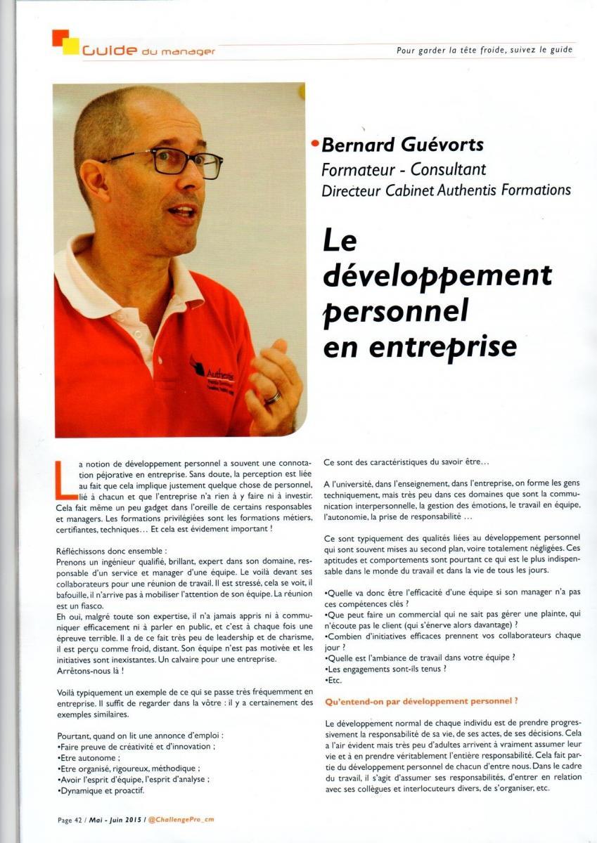 Article paru dans la revue Challenge Pro 7 - Le développement personnel en entreprises