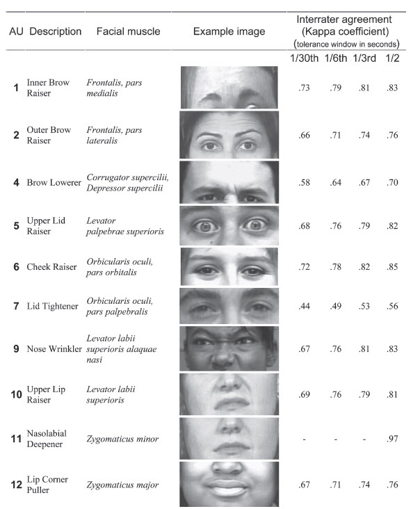 image extraite de Observer-Based Measurement of Facial Expression With the Facial Action Coding System