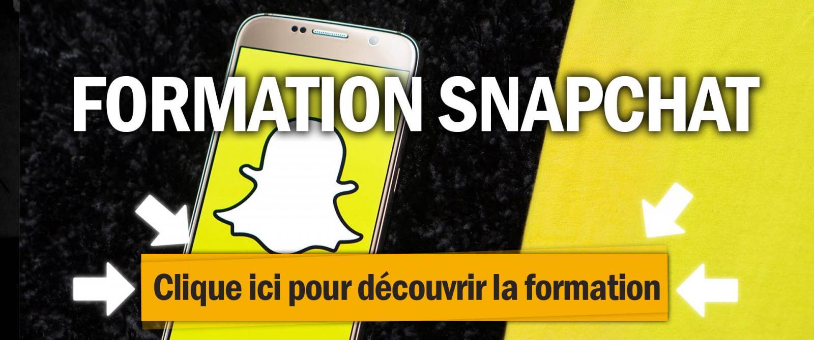 Formation snapchat ads pour faire de la publicité sur Snapchat avec le logo de snapchat et une couleur jaune en fond.