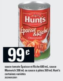 Sauce Tomate Épaisse et Riche | Sauce Manwich ou Sauce à Pâtes Hunt's du 1 au 7 août 2019