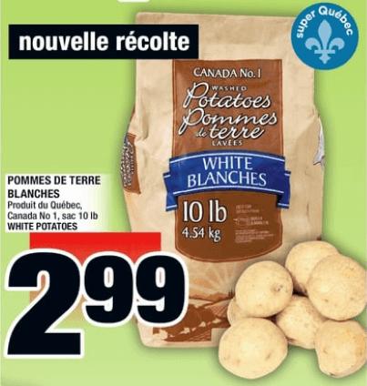 Pommes de Terre Blanches 10 lb du 1 au 7 août 2019