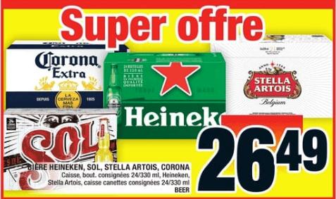Bière Heineken, Sol, Stella Artois, Corona caisse de 24 du 10 au 16 octobre 2019