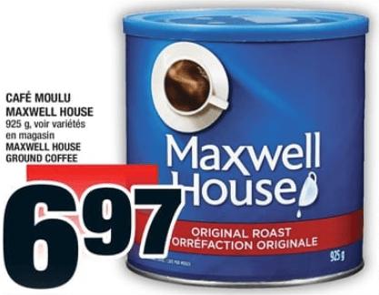 Café Moulu Maxwell House 925g du 10 au 16 octobre 2019