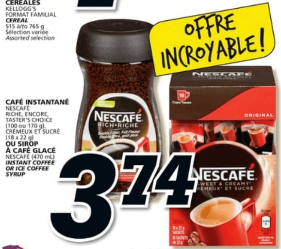 Café Instantané ou Sirop à Café Glacé Nescafé 100 -170g du 11 au 17 avril 2019