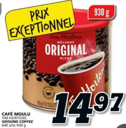 Café Moulu Tim Hortons 930g du 11 au 17 avril 2019