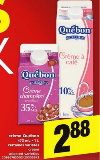 Crème Québon 473 ml - 1L du 11 au 17 avril 2019