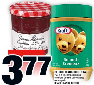 Beurre D'arachide Kraft 750g - 1 kg, Confiture Bonne Maman 250 ml du 11 au 17 juillet 2019