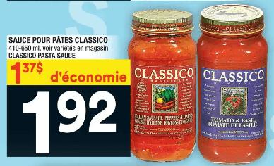 Sauce pour Pâtes Classico du 11 au 17 juin 2020