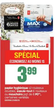 Papier Hygiénique 12 rouleau double, Essuie-Tout 6 rouleau ou Mouchoirs Pc 6 boites du 12 au 18 décembre 2019