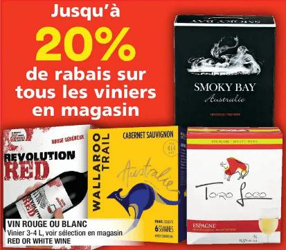 Vin Rouge ou Blanc 4 L du 12 au 18 décembre 2019