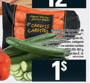 Carottes ou Oignons Délice du Marché, Concombres Anglais ou Salades Pc du 12 au 18 mars 2020
