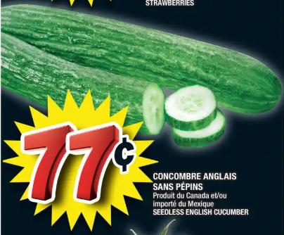 Concombre Anglais Sans Pépins du 12 au 18 mars 2020