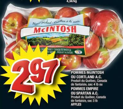 Pommes Mcintosh ou Cortland A.C. du 12 au 18 mars 2020
