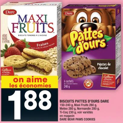 Biscuits Pattes D'ours Dare du 13 au 19 février 2020