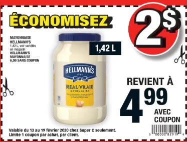 Mayonnaise Hellmann's 1,42L du 13 au 19 février 2020