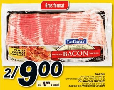 Bacon Lafleur 500g ou Olymel Sans Nitrite 375g ou Bacon Précuit Lafleur 65 ou 90g du 13 au 19 juin 2019
