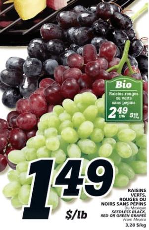 Raisins Verts, Rouges ou Noirs Sans Pépins | Bio Raisins Rouges ou Verts Sans Pépins du 13 au 19 juin 2019