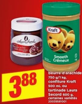 Beurre D'arachide 750g - 1 kg, Confiture Kraft 500 ml ou