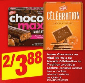 Barres Chocomax ou Vital ou Biscuits Célébration ou Tradition Leclerc du 13 au 19 juin 2019