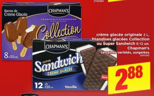 Crème Glacée Originale, Friandises Glacées Collection ou Super Snadwich Chapman's du 13 au 19 juin 2019