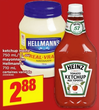 Ketchup Heinz 750 ml / 1L ou Mayonnaise Hellmann's 710 ml du 13 au 19 juin 2019