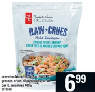 Crevettes Blanches du Pacifique Pc 400g 31-40 par lb du 13 au 19 juin 2019
