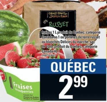 Fraises 1L ou Pommes de Terre Russet ou Blanches Délice du Marché 10 lb du 13 au 19 juin 2019