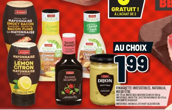 Vinaigrette Irresistibles, Naturalia, Mieux-Être | Moutarde Dijon Irresistible | Mayonnaise Selection du 14 au 20 mai 2020