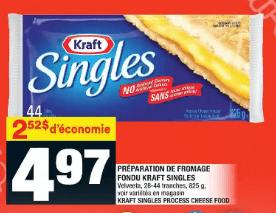 Produit de Fromage Fondu en Tranches Singles ou Cheez Whiz Kraft du 14 au 20 mai 2020