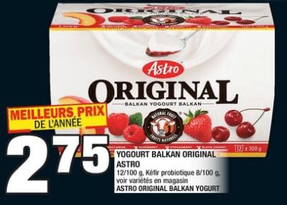Yogourt Balkan Original Astro, Kéfir Probiotique du 14 au 20 novembre 2019