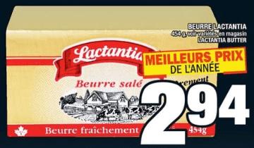 Beurre Lactantia 454g du 14 au 20 novembre 2019