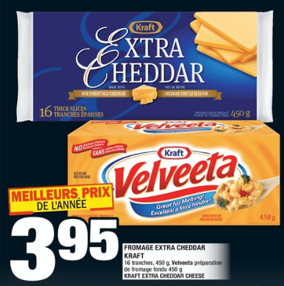 Fromage Extra Cheddar Kraft 450g du 14 au 20 novembre 2019