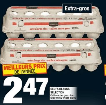 Oeufs Blancs Selection 12un extra-gros du 14 au 20 novembre 2019