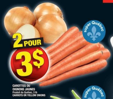 Carottes ou Oignons Jaunes 3 lb du 15 au 21 août 2019