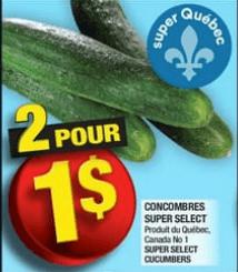 Concombres Super Select du 15 au 21 août 2019