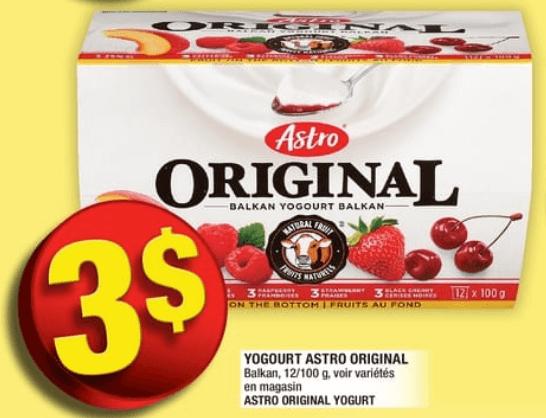 Yogourt Astro Original 12 X 100g du 15 au 21 août 2019