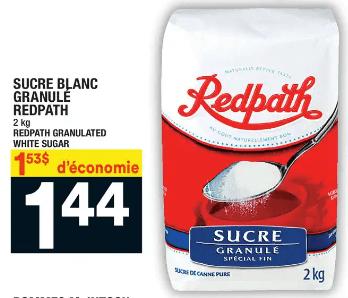 Sucre Blanc Granule Redpath 2kg du 16 au 22 avril 2020