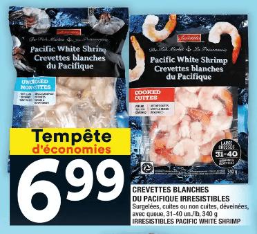 Crevettes Blanches du Pacifique Irresistibles 31-40 340g du 16 au 22 janvier 2020