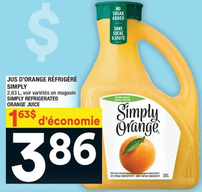 Jus D'orange Réfrigéré Simply 2,63 L du 16 au 22 janvier 2020