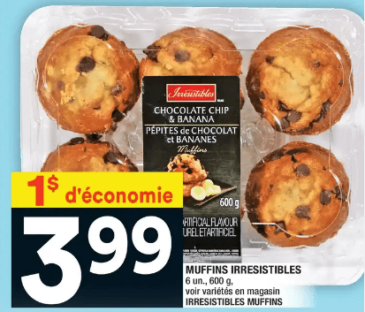 Irresistibles Muffins 6un 600g du 16 au 22 janvier 2020