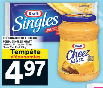 Préparation de Fromage Fondu Singles Kraft 825g du 16 au 22 janvier 2020