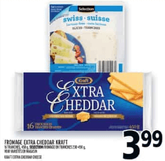 Fromage Extra Cheddar Kraft 450g, Fromage en Tranches Selection 230-450g du 16 au 22 mai 2019