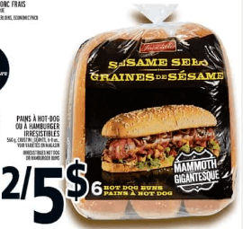 Pains à Hot-Dog ou à Hamburger Irresistibles 560g 6-8un du 16 au 22 mai 2019