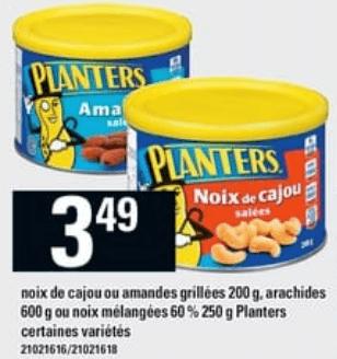 Noix de Cajou ou Amandes Grillées 200g, Arachides 600g ou Noix Mélangées Planters 250g du 16 au 22 mai 2019